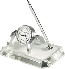 Howard Miller Prominence Desk Set Clock Optical Crystal 645724