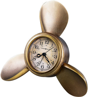 "8""H Propeller Alarm Clock Antique Copper"
