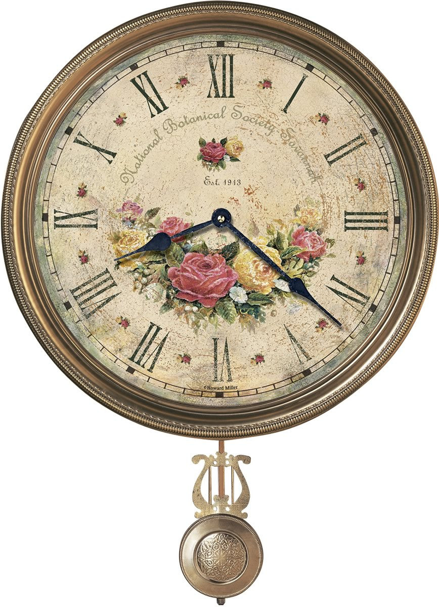 "21""H Savannah Botanical VII Framed Wall Clock Antique Brass"