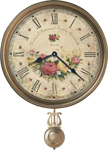 Howard Miller Savannah Botanical VII Framed Wall Clock Antique Brass 620440