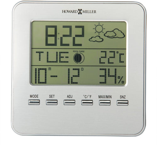 Weather View Table Clock Satin Silver