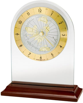 "7""H World Time Arch Table-top Clock Rosewood"