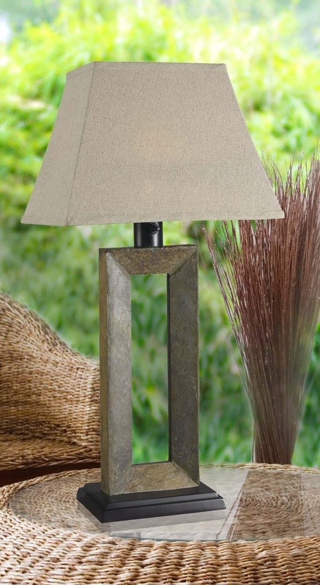 "32""h Egress 1-Light Outdoor Table Lamp Natural Slate"