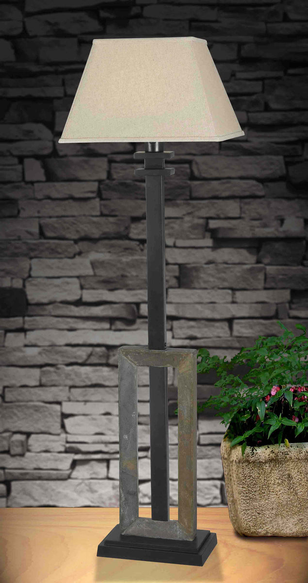 "Egress 58""H 1-Light Outdoor Floor Lamp Natural Slate"
