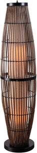 "51""h Biscayne 2-Light Outdoor Floor Lamp Rattan with Bronze Accents"