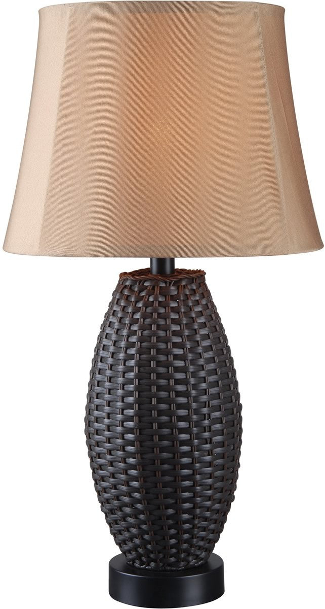 "26""h Sunset 1-Light Outdoor Table Lamp Bronze Rattan"