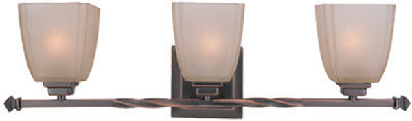 "26""w 3-Light Wall Fixture Twisted Copper Bronze"
