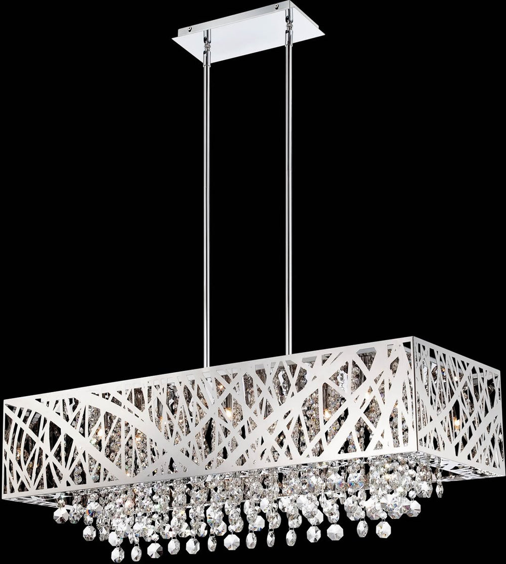 "36""w Benedetta 10-Light Pendant Lamp Chrome"