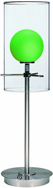 Lite Source Burst Halogen Double-Glass Table Lamp Polished Steel LS2149PSLGRN