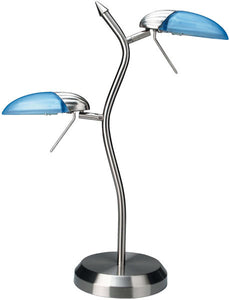 Lite Source Dancer 2-Light Halogen Table Lamp Polished Steel LS309PSLBLU