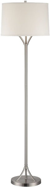 Lite Source Gemma 1-Light Compact Fluorescent Fluorescent Floor Lamp Polished Steel LS81990PSWHT