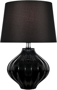 Gordana 1-Light Table Lamp Black Ceramic