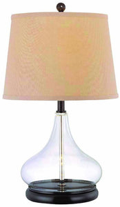 Lite Source Hendrick 1-Light Fluorescent Table Lamp Dark Bronze/Clear Glass LS21658