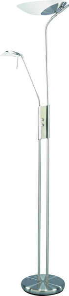 Lite Source Lucien 2/1-Light Fluorescent Torchiere Reading Lamp Polished Steel LSF9709PSFRO