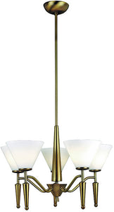 Lite Source Martini 5-Light Ceiling Fixture Bronze LS10325BRZWHT