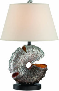 Lite Source Nautilus 1-Light Table Lamp Aged Silver Sea-Shell LS22414