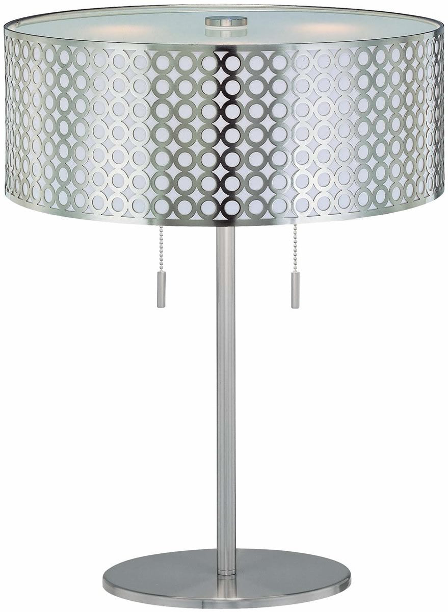 Netto 2-Light Fluorescent Table Lamp Polished Steel
