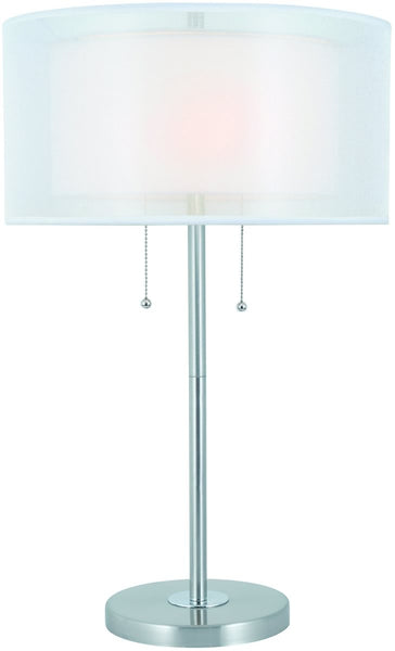 Lite Source Nodin 2-Light Table Lamp Polished Silver LS22626