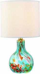 Lite Source Pepita Table Lamp Aqua Glass Body LS20073AQUA
