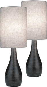 Lite Source Quatro 2-Light Set of 2 Mini Table Lamp Brushed Dark Bronze LS29962PK