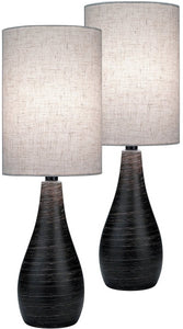 Lite Source Quatro 2-Light Set of 2 Table Lamp Brushed Dark Bronze LS29972PK
