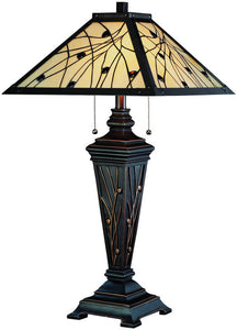 Lite Source Remus 2-Light Tiffany Table Lamp Dark Bronze C41117