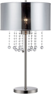 "Riviera 30""H 1-Light Crystal Buffet Table Lamp Polished Steel"