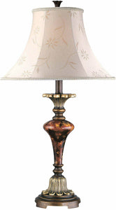 Lite Source Savoir Faire Table Lamp Antique Gold with Glass Decoration C4333