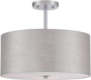 "16""W Silvain 3-Light Semi Flush Mount Chrome"