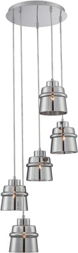 "12""W Sparta 5-Light Pendant Chrome"