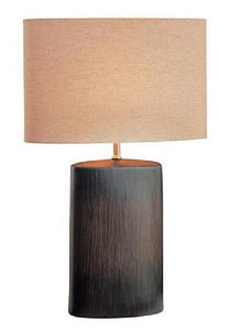 Narvel Wood Grain Oval Table Lamp