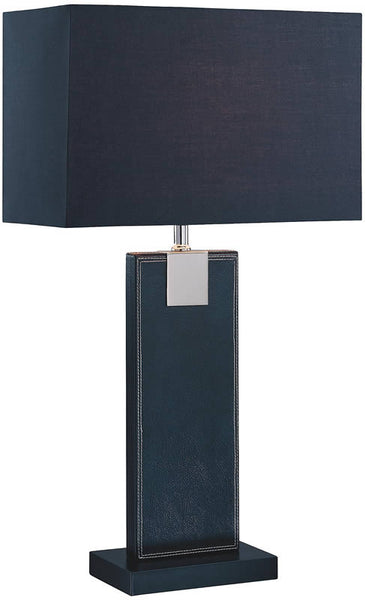 Lite Source 1-Light Remigio Table Lamp Black Leather LS21282BLKBLK