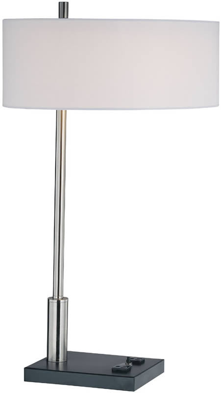 "27""H 1-Light Table Lamp Polished Steel Data port outlets"