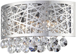 3-Light Wall Sconce Chrome with Crystal