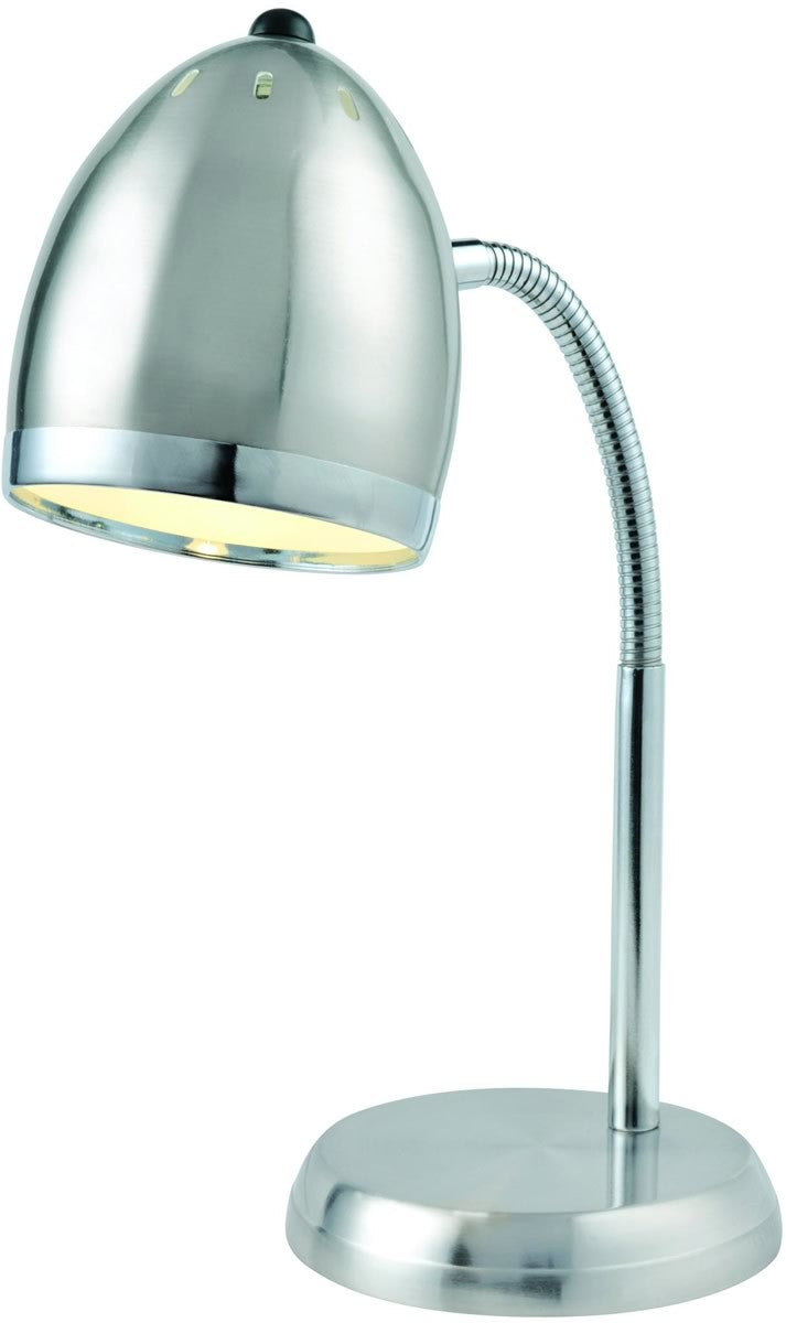 Zachary 1 Light Fluorescent Desk Lamp Polished Steel/Chrome