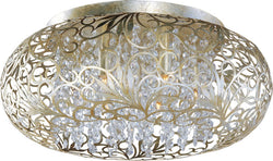 "18""w Arabesque 3-Light Flush Mount Golden Silver"