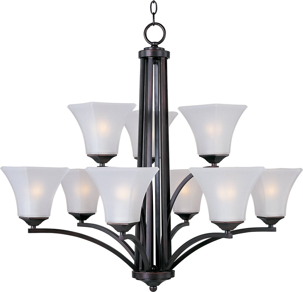 "32""w Aurora 9-Light Multi-Tier Chandelier Oil Rubbed Bronze"