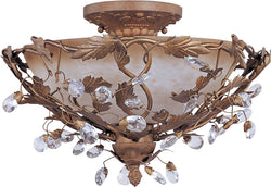 "17""w Elegante 3-Light Semi Flush Mount Etruscan Gold"