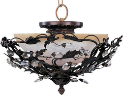 "17""w Elegante 3-Light Semi-Flush Mount Oil Rubbed Bronze"