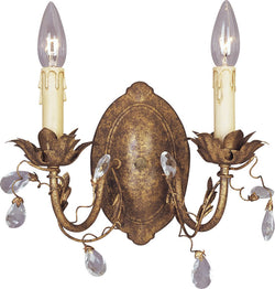 "12""w Elegante 2-Light Wall Sconce Etruscan Gold"