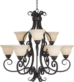 "33""w Manor 9-Light Multi-Tier Chandelier Oil Rubbed Bronze"