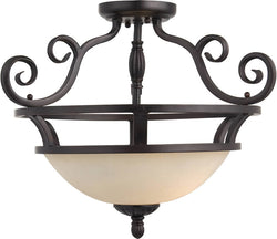 "20""w Manor 2-Light Semi-Flush Mount Oil Rubbed Bronze"