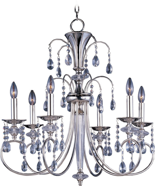 "28""w Montgomery 6-Light Single-Tier Chandelier Polished Nickel"
