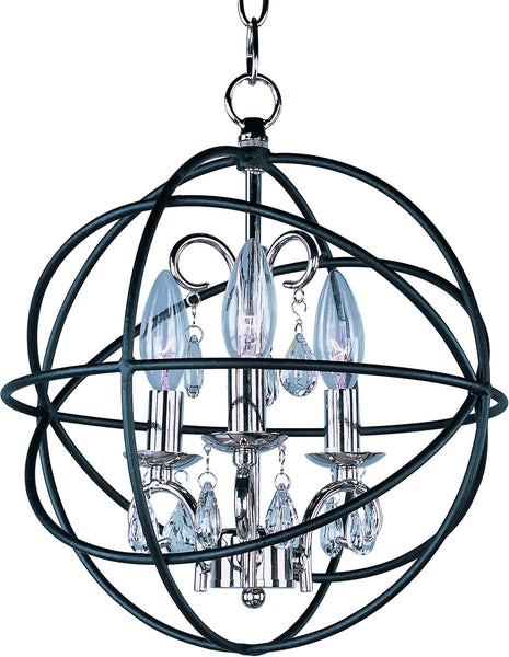Maxim Orbit 3-Light Chandelier Anthracite and Polished Nickel 25140ARPN