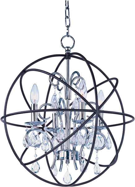 Maxim Orbit 4-Light Chandelier Anthracite and Polished Nickel 25142ARPN