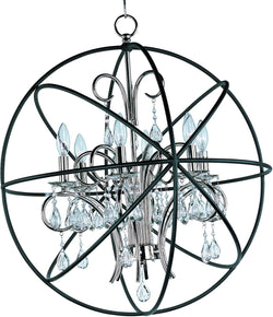 Maxim Orbit 6-Light Chandelier Anthracite and Polished Nickel 25144ARPN