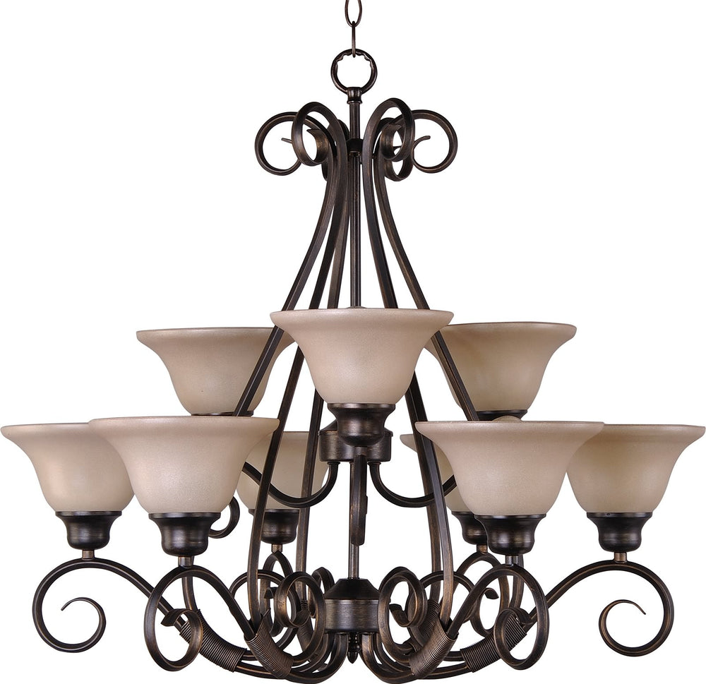 "31""w Pacific 9-Light Multi-Tier Chandelier Kentucky Bronze"