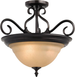 "19""w Pacific 3-Light Semi-Flush Mount Kentucky Bronze"