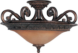 "23""w Symphony 3-Light Semi-Flush Mount Oil Rubbed Bronze"