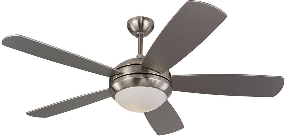"52""W Discus 5-Blade Ceiling Fan with Light Kit Brushed Steel/Silver"